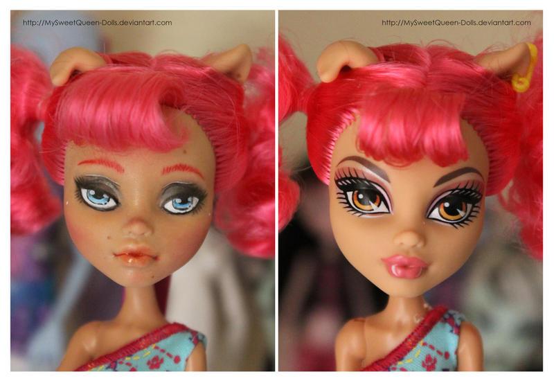 Repainting VS Factory Makeup: Howleen Wolf II by MySweetQueen-Dolls
