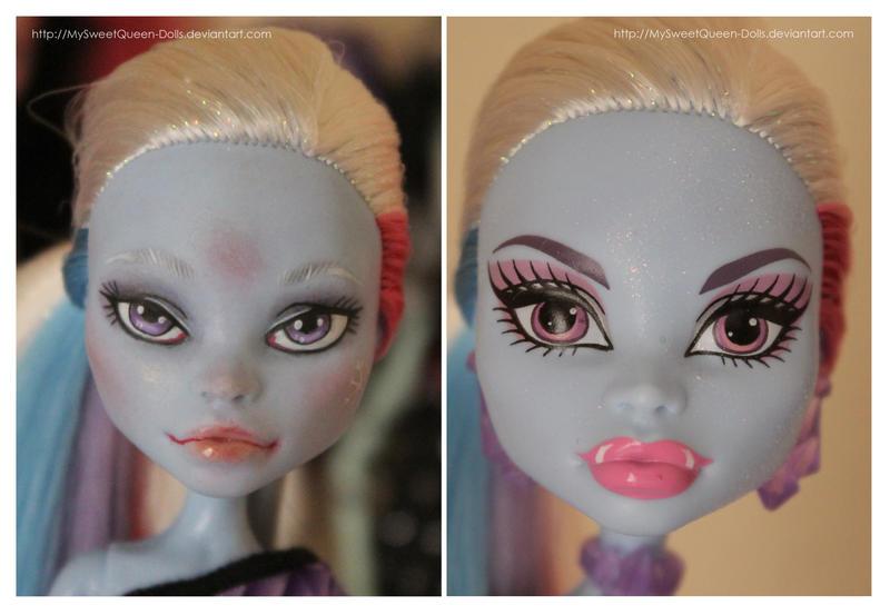 Repainting VS Factory Makeup: Abbey Bominable II by MySweetQueen-Dolls