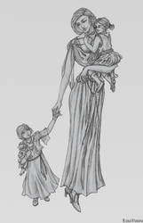 Laena Velaryon and her daughters by l-livas-l