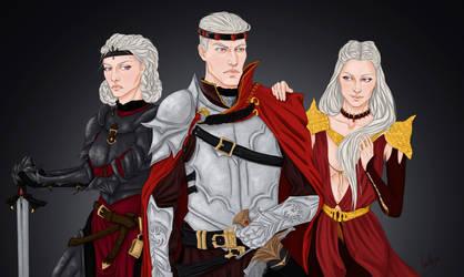 Aegon, Rhaenys and Visenya by l-livas-l