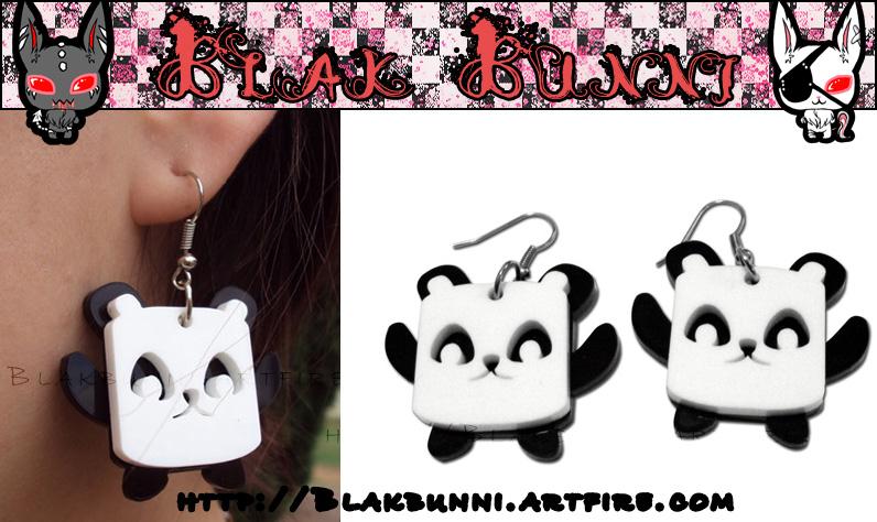 Cute Panda Earrings by BlakBunni