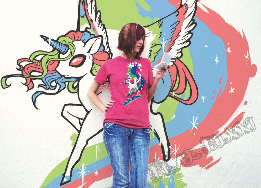 Darkside Unicorn T-shirt 1 by BlakBunni