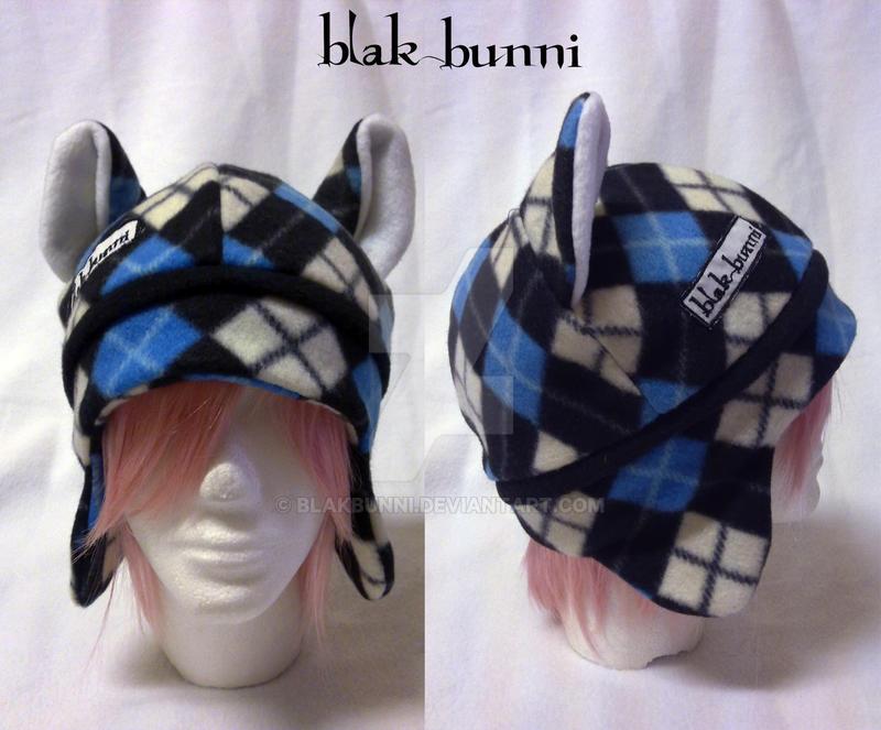Tartan kitty beanie blue by BlakBunni