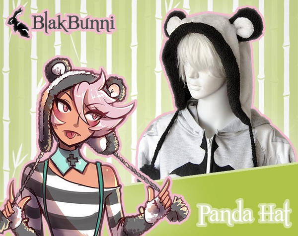 MADE TO ORDER - Cute fluffy panda animal hat by BlakBunni