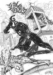 Venom Versus Spidey Penciled Version