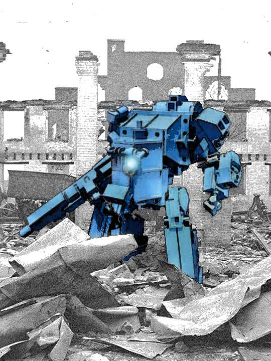 A Battlemech in a Ruin by izzolegostyle