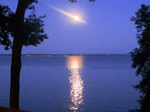 Waterfront and Moonlight at Dusk [STOCK]