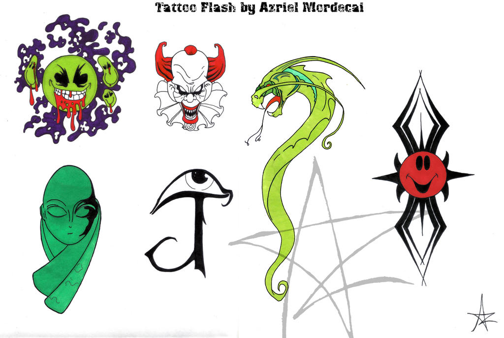 Tattoo Flash Poster by AzrielMordecai