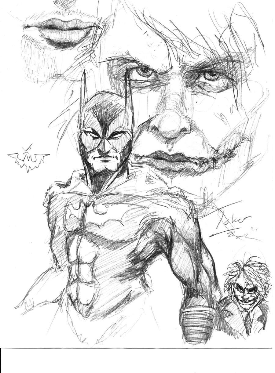 Batman And Joker Sketch By OnCue5 On DeviantArt