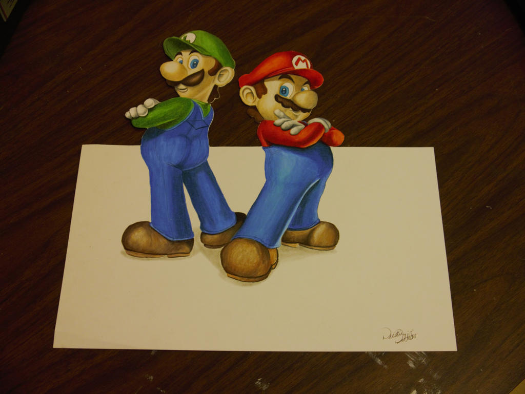 Limpurtikles Mario Colored: Colored Pencil Drawing By
