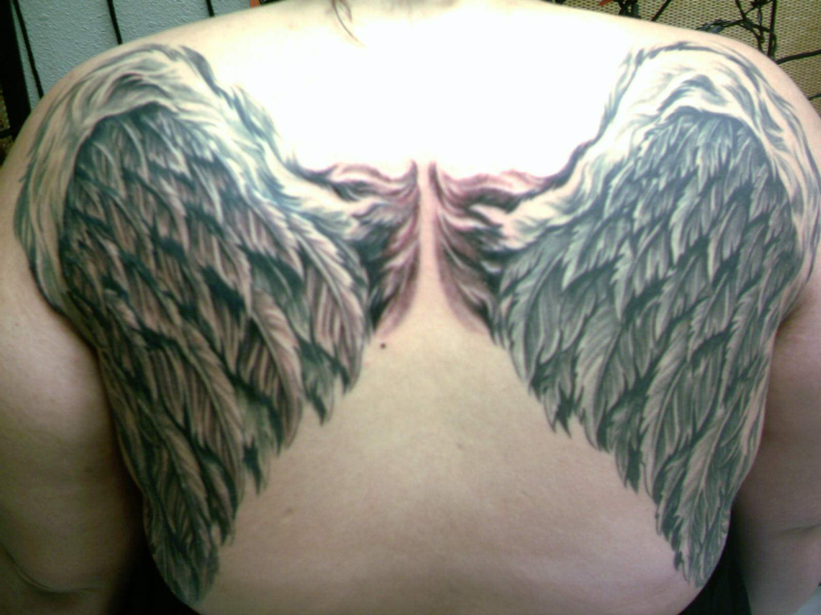 Angel wings tattoo finished by girlbehindtheglass on deviantart