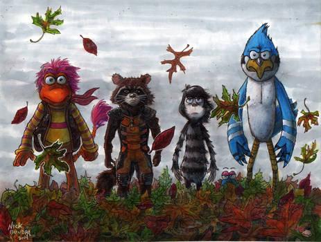 Gobo, Rocket, Jojo and Mordecai with Foof