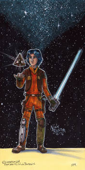 Ezra Bridger with Sith Holocron by Phraggle