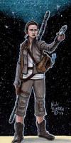 Rey with Luke Skywalker's Lightsaber
