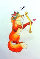 Zodiac fox drawing 02 - Sagittarius by AlexKSFox