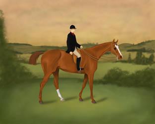 Chestnut Horse With Jockey