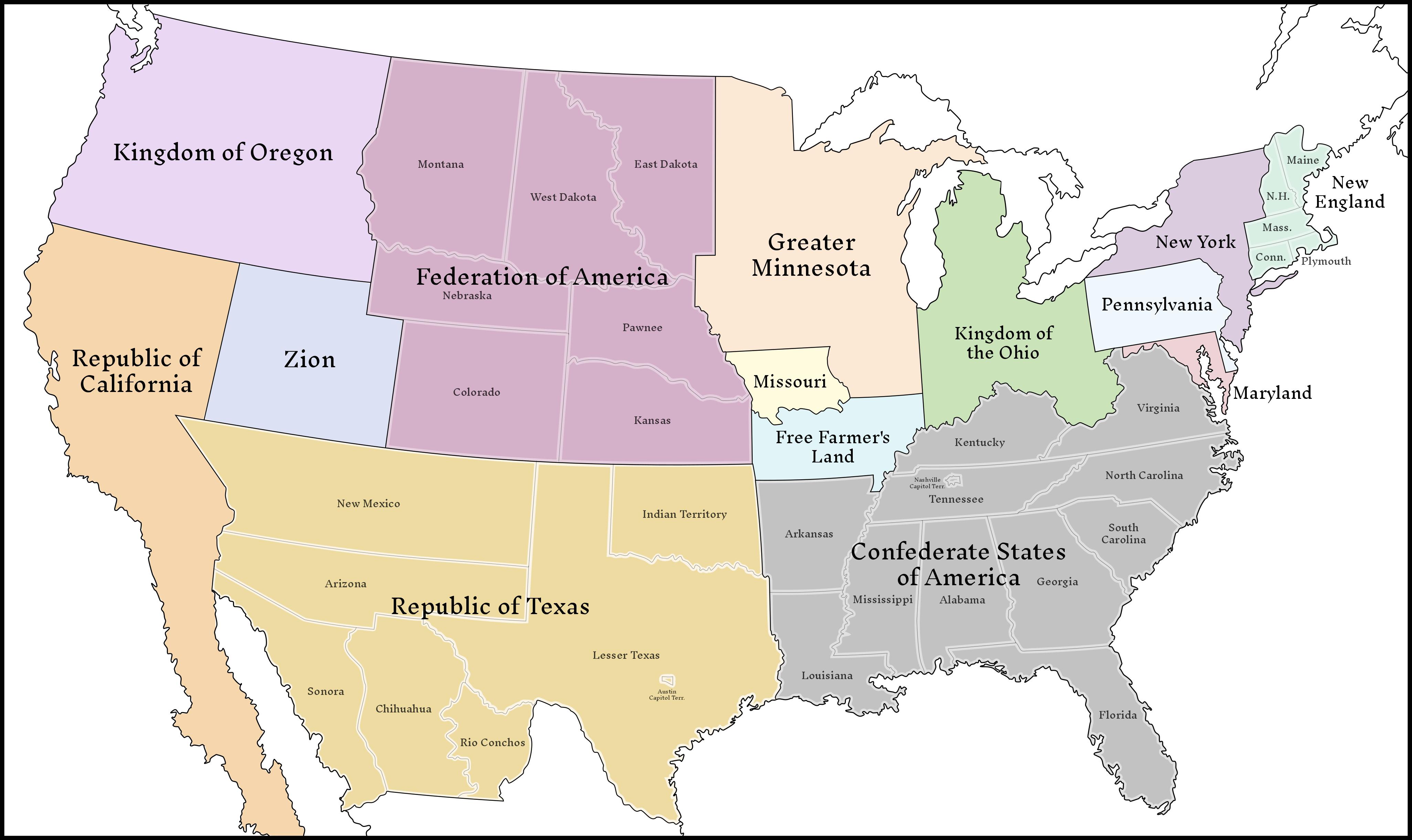 Classic Balkanized Us Map 59 493 By Upvoteanthology