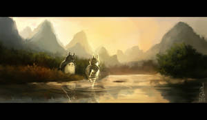 Totoro's chance encounter by DavinArfel