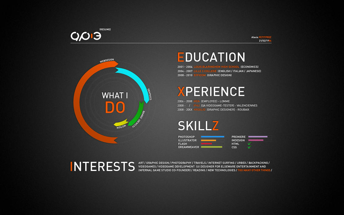 The Old Online Version Of My Resume (2010) By AP 3 ...  Resume Designer Online