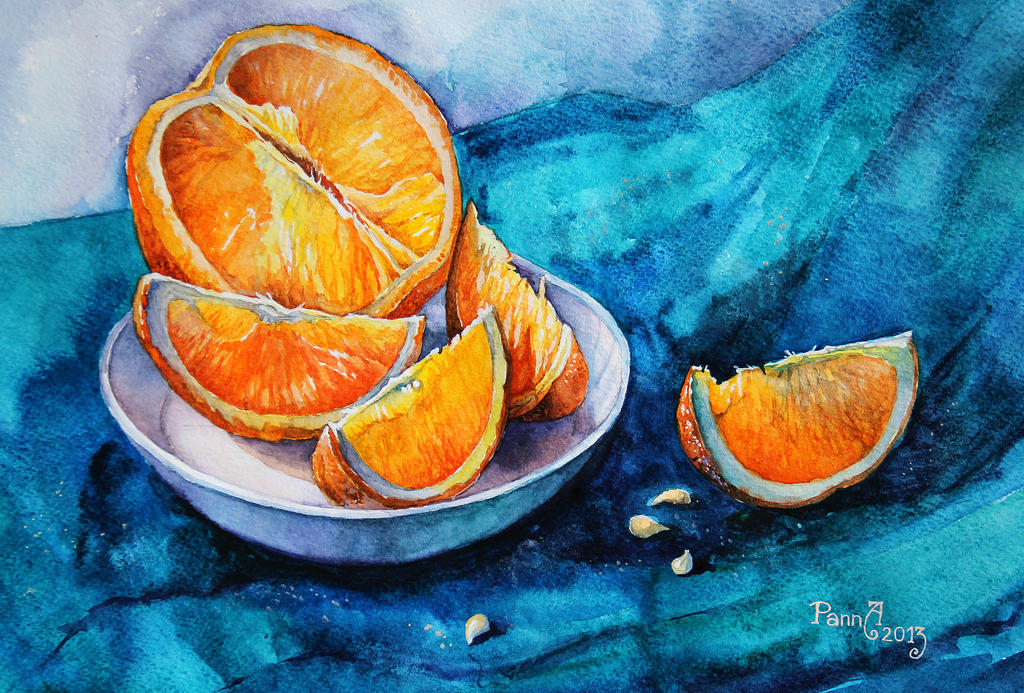 Oranges on blue by vasoiko