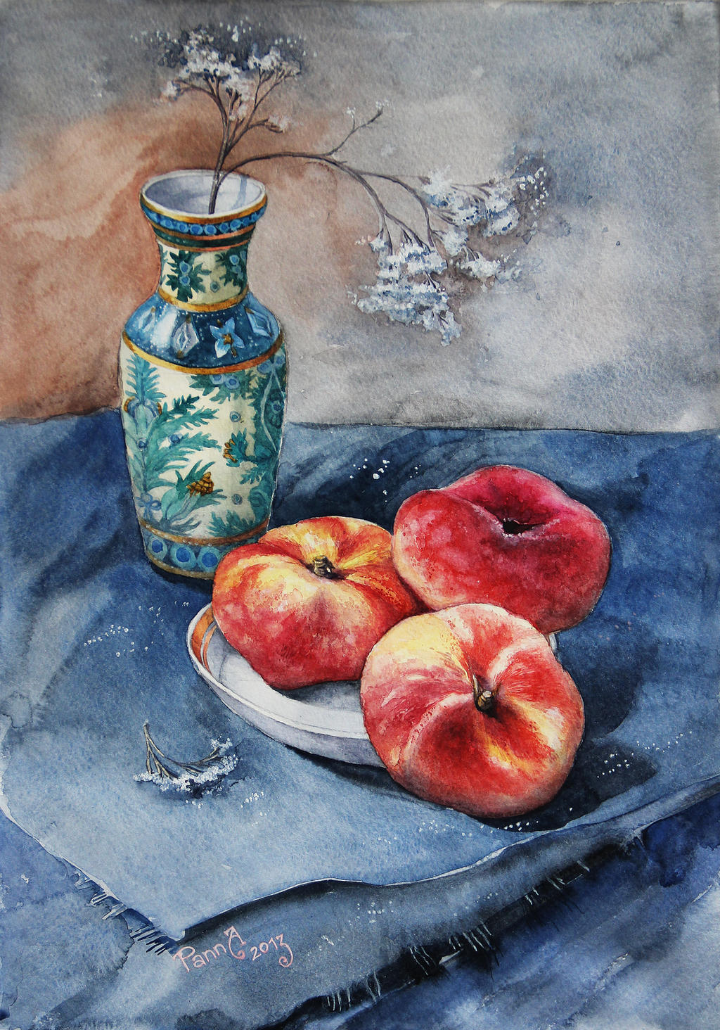 Still Life with peaches by vasoiko