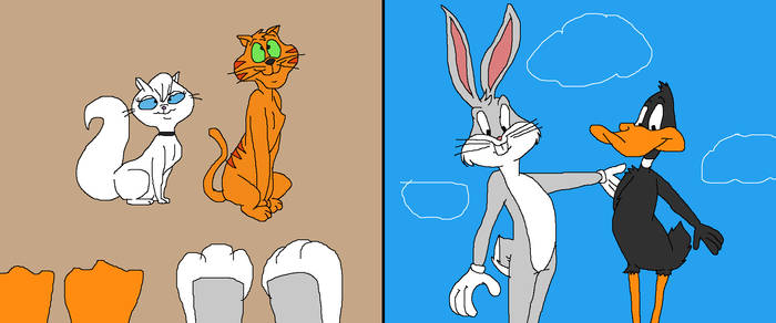 Bugs and Daffy meets Mewsette and Jaune Tom