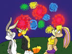 A looney fireworks display