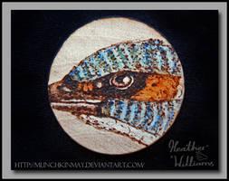 Kingfishers eye Pyrography by Munchkinmay