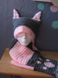 Pink Gray Cat hat scarf Set