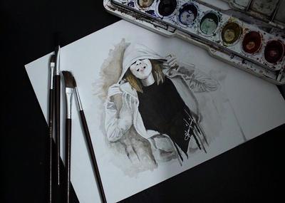 Water Color (self-portrait) by arkihannah