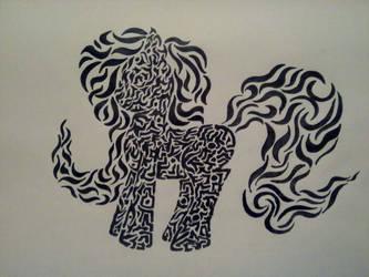 Tribal pony by minokyoko