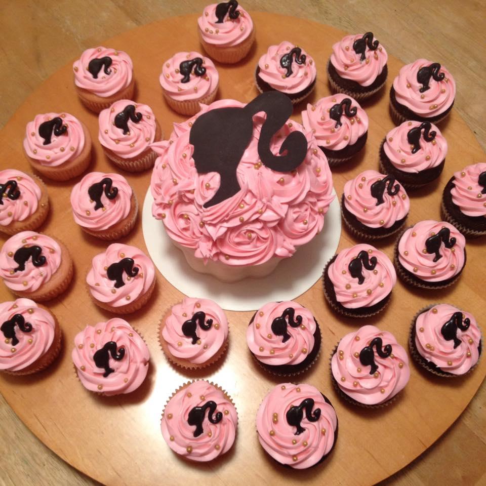 Barbie cupcakes and mega cupcake