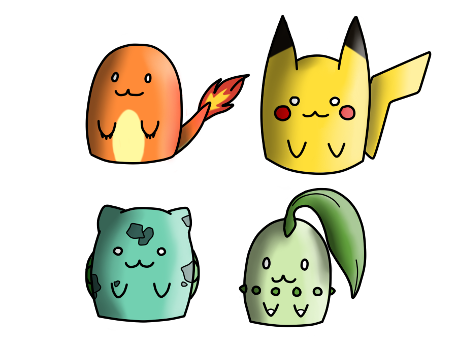 Chibi Pikachu Charmander Chikorita And Bulbasaur By YoshiOkami