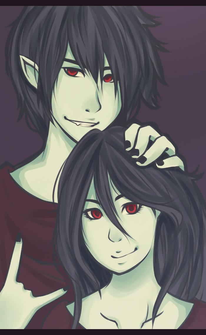 Marceline and Marshall Lee by virinn