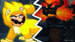 Giga Cat Mario vs Fury Bowser