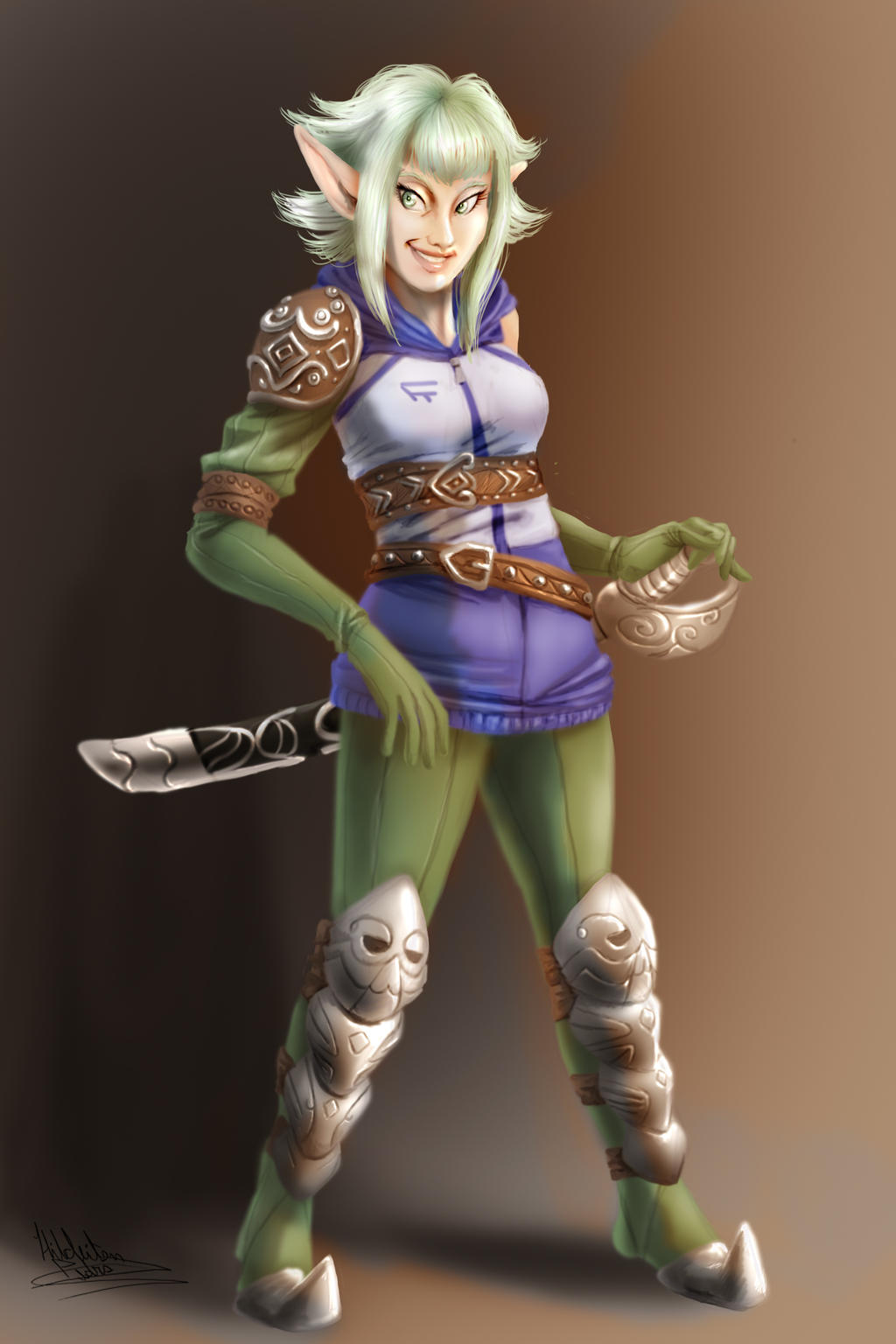 Female Elf Warrior by tiocleiton