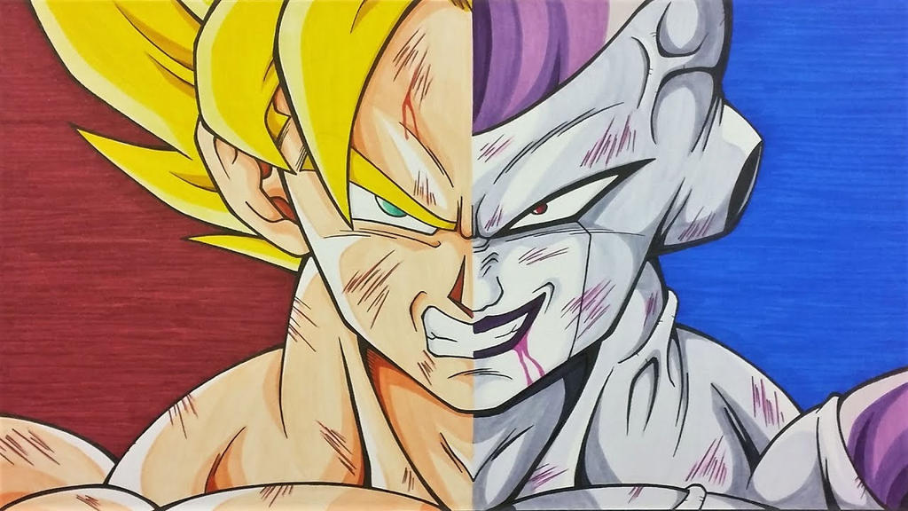 Drawing Goku SSj vs Frieza full Power Dragonball by ...