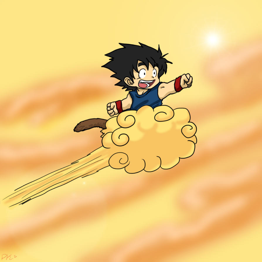 It's just a picture of Slobbery Goku On Nimbus Drawing