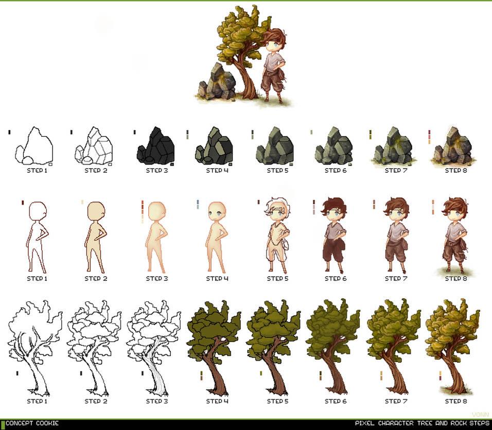 Pixel Art Tutorial Chart by CGCookie