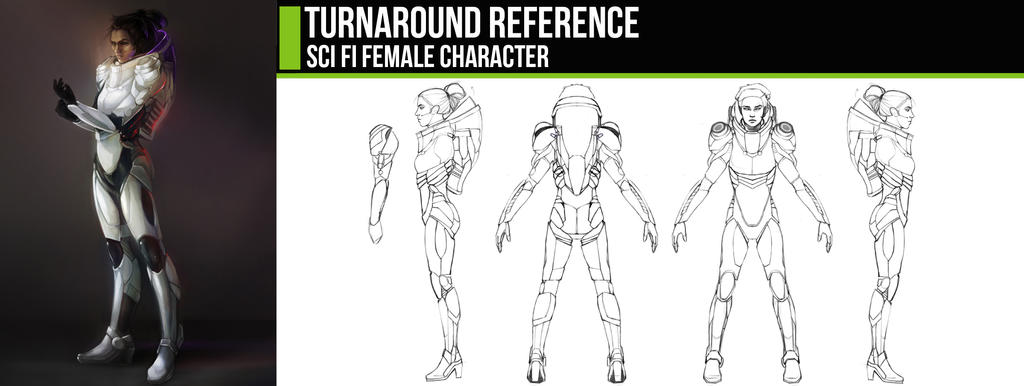 Turnaround: Sci Fi Female Character by ConceptCookie