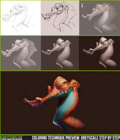 Coloring Technique Preview: Greyscale Step by Step by CGCookie