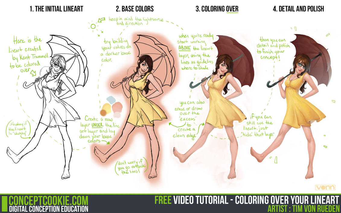 Digital Line Art : Tutorial coloring over your lineart by conceptcookie on