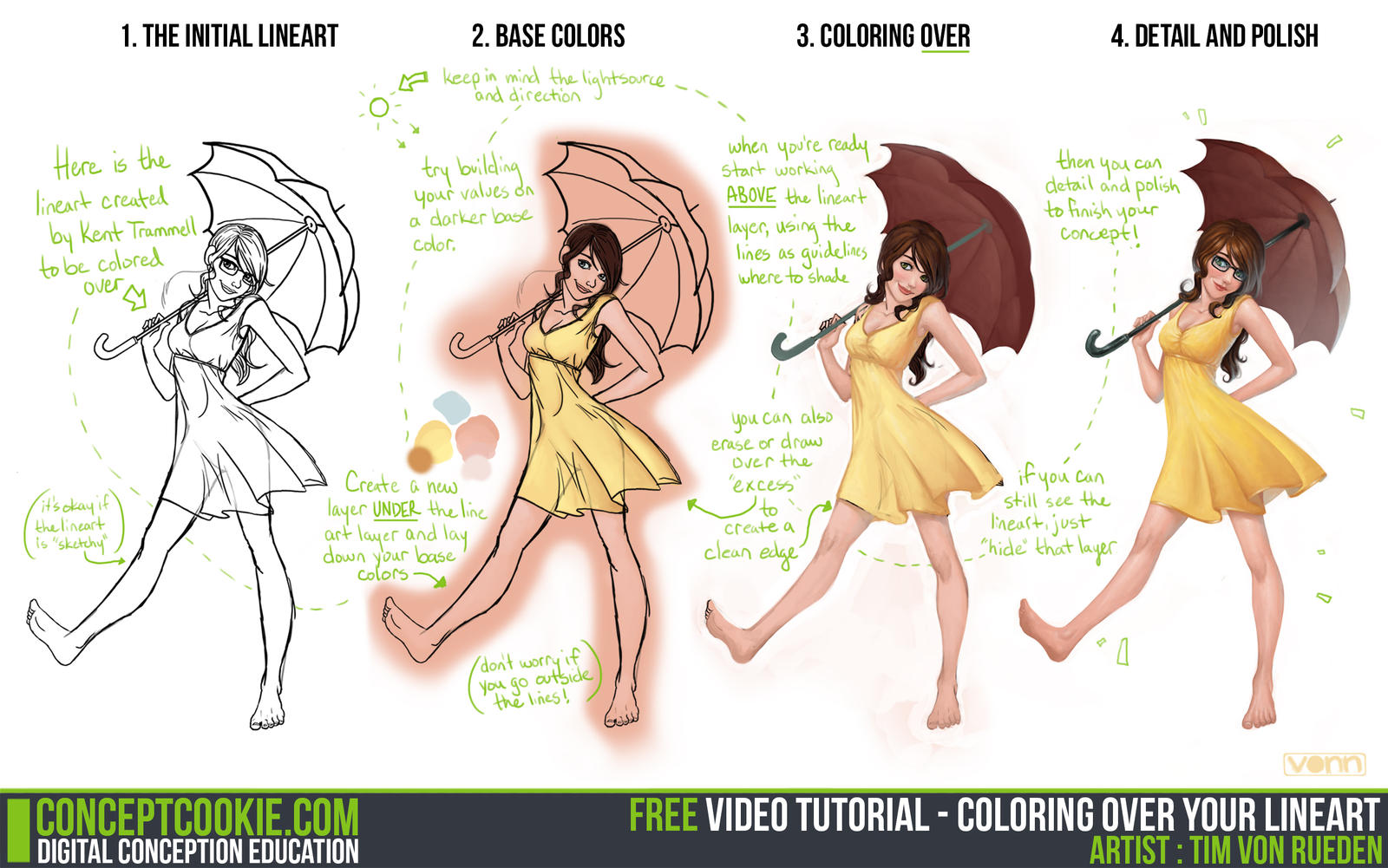 Line Art Digital : Tutorial coloring over your lineart by cgcookie on deviantart
