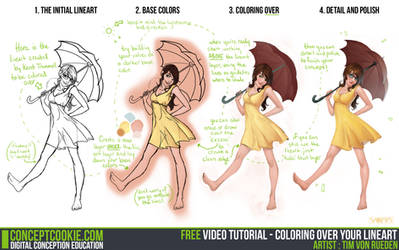 Tutorial: Coloring Over Your Lineart by CGCookie