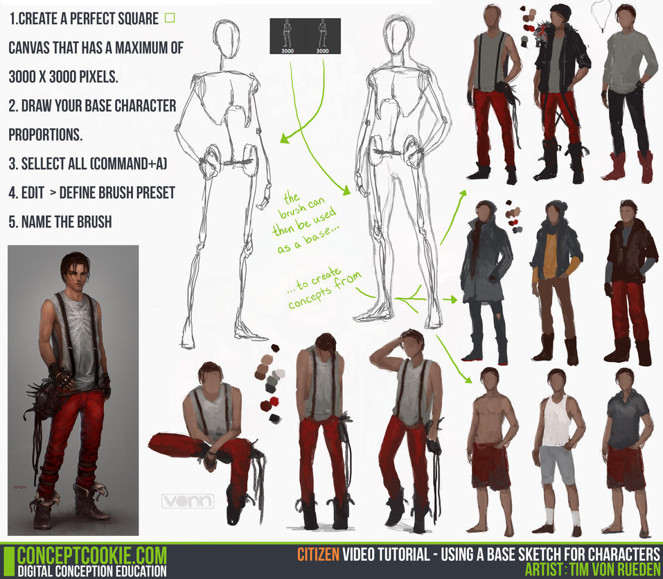 Concept Character Design Tutorials : Tutorial using a base sketch for characters by
