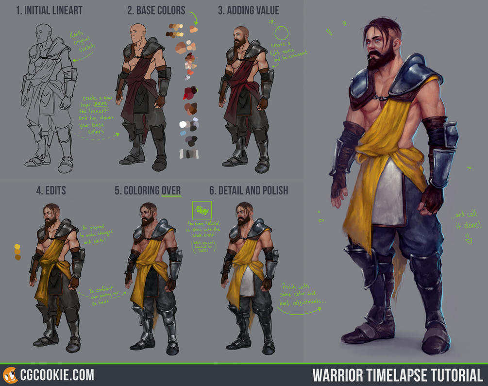 Warrior timelapse tutorial step by step by cgcookie on deviantart warrior timelapse tutorial step by step by cgcookie baditri Images