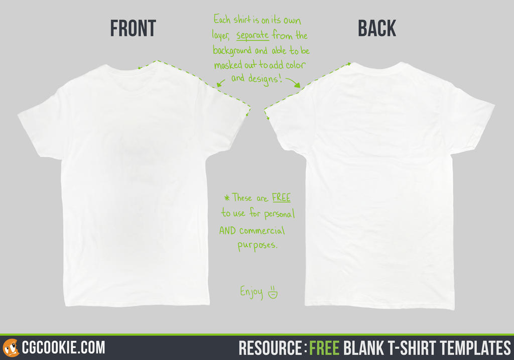 Resource: Blank T-Shirt Templates by CGCookie on DeviantArt