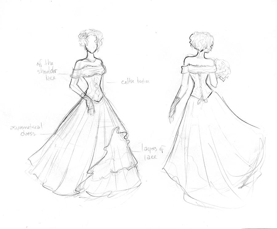 Simple Elegant Line Art : Elegant wedding dress by lunaozzy on deviantart