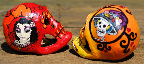2012 Dia de los Muertos skulls by NibbleKat