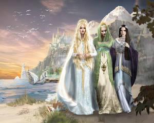 A last stroll, Galadriel, Celebrian and Arwen